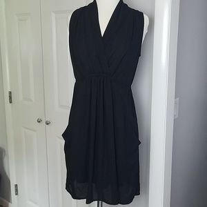 Bar III Black Tie Pocketed Empire Waist Dress